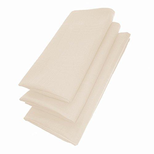 Edel Servietten Set / 3 Stoff-Serviette in Naturweiß / Beige quadratisch 45 cm x 45 cm - Tisch-Tücher / Mundtuch, Mundtücher / weiß