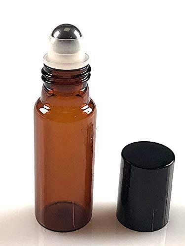Flacon verre roll-on 10ml en verre ambré + capsule noire par lot de 20pcs