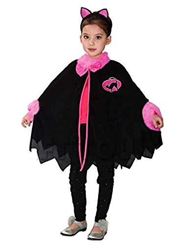Kattenkostuum - meisjeskat - vermomming - carnaval - halloween - accessoires - poncho cape hoofdband met oren - 120/130 cm - 7/8 jaar - idee verjaardag kerstcadeau cosplay