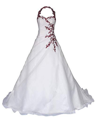 EVANKOU Damen Romantic-Fashion Brautkleid Hochzeitskleid Neckholder Weiß A-Linie Satin Perlen Pailletten Bordeauxrote Stickerei Weiß Große 44