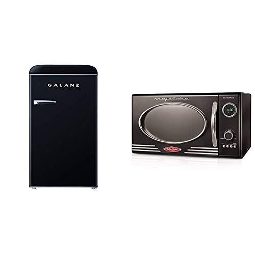 Galanz GLR35BKER Retro Compact Refrigerator, 3.5 Cu.Ft Single Door Fridge Adjustable Mechanical Thermostat with Chiller & Nostalgia RMO4BK Retro 0.9 Cubic Foot 800-Watt Countertop Microwave Oven