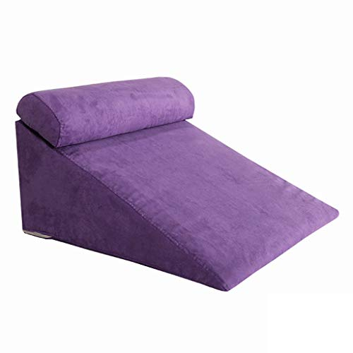 Bed Wedge Pillow Back,Adjustable Memory Foam Top 24 X 26 X 12 Inches Best for Sleeping, Reading, Rest Or Legs Elevation Breathable and Washable Cover -12 Inch Wedge, Gray (Color : Purple)