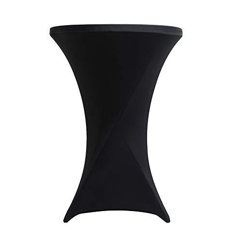 Nappe pour Mange Debout, Housses de Table Haute, Housse de Table de Bistrot, Protection Table Cocktail, Stretch Spandex Housse de Table(1PCS,Black (80x110cm))