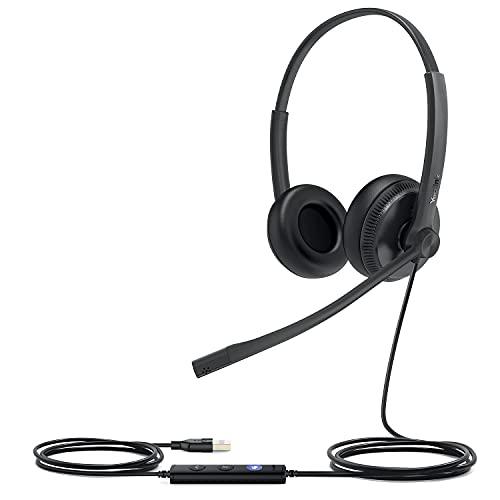 Yealink UH34 Auriculares estéreo duales para una mayor productividad, sonido superior para llamadas y música, diseño cómodo de 3,5 mm, equipos optimizados