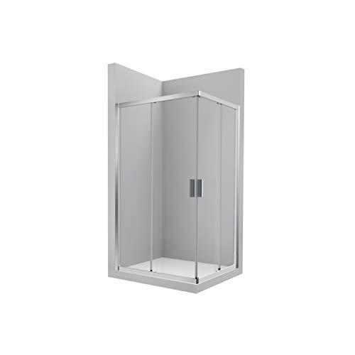 Mampara lateral ducha 1 hoja corredera + 1 fija URA L2-Roca, cristal transparente, 75 x 0,6 x 195 centímetros, color plata brillo (Referencia: AM16507512M)