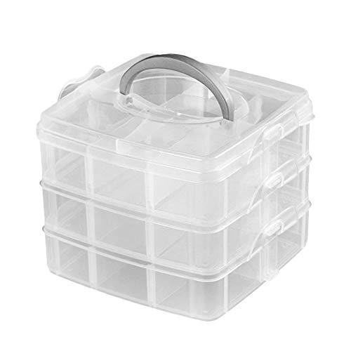 Bageek Opbergkoffer voor sieraden, 3-laags, beweegbare scheidingswand, top handgreep, sieraden, parels, organizer box