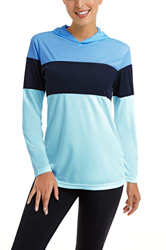 SMENG Womens Outdoor Sonnenschutz Shirt Fashion Striped Langarm Casual Hoodies für Damen Blau XXL