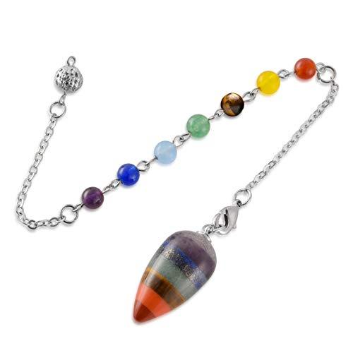 Jovivi 7 Chakra Gemstone Beads Pendulum Healing Crystal Pendulum for Divination Reiki Egg Shape Dowsing Pendant