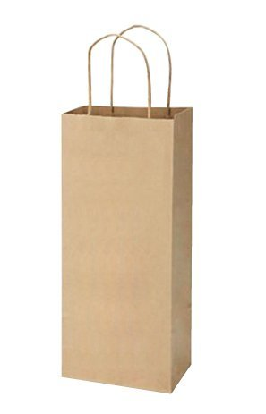 "5.25""x3.25""x13""-50 pcs -Bagsource Brown Kraft Paper Wine Bags 95% Post Consumer Materials & FSC Certified"