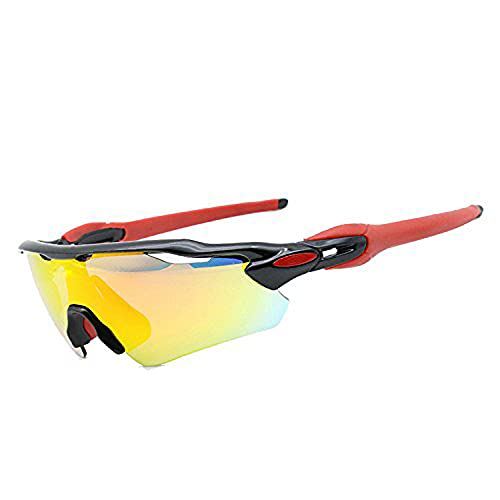 Riloer Gafas de montar en bicicleta de montaña, gafas de sol polarizadas antiultravioletas fotocromáticas para deportes al aire libre, con 5 tipos de lentes