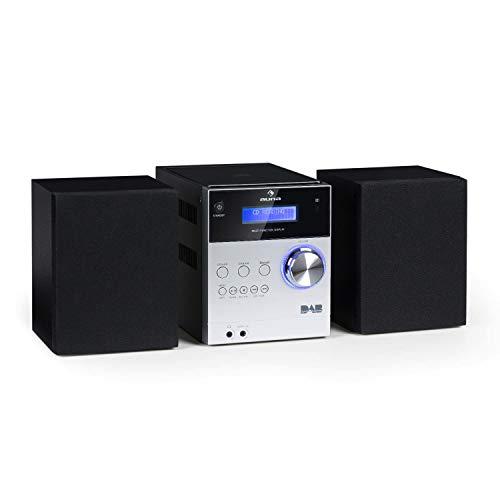 auna MC-20 DAB Plus - Minicadena, Equipo estéreo hi-fi, 2 vías, Potencia salida: 2 x 5W, Bluetooth, Pantalla LCD, Sintonizador digital DAB+, Sintonizador analógico VHF, Control remoto, Gris metalizado