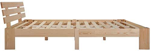 Holzbett 140x200 cm - Doppelbett mit Kopfteil - Palettenbett mit Lattenrost - Massivholzbett - Bettgestell