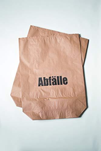 HierBeiDir 70 L Papier-Mülltüten, nassfest + Kreuzboden, Biomüllbeutel für kompostierbare, biologische & Papier Abfälle, 2-lagig 70g/m², 20x Papiersäcke