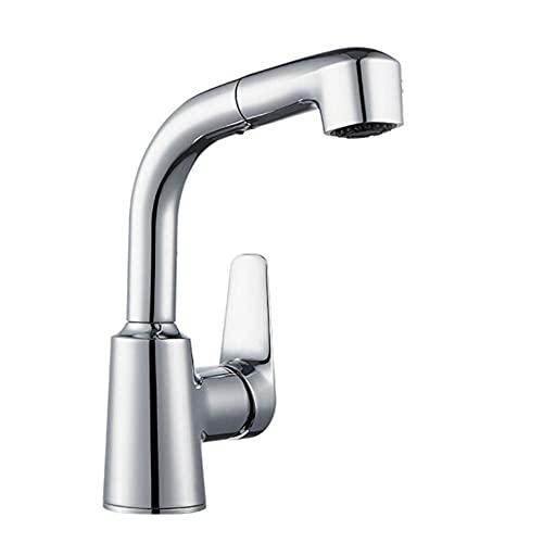 Grifo Cocina El grifo de lavabo extraíble puede girar, reducir y levantar la lavabo de baño de tres funciones sobre el grifo de la cuenca de contador