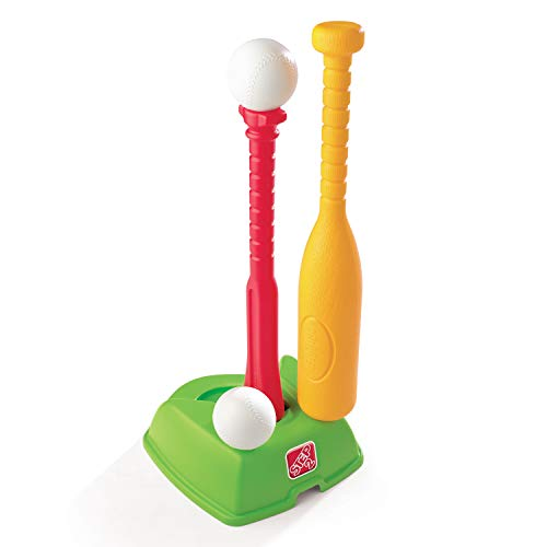 Step2 2-in-1 T-Ball and Golf Set Toy - Outdoor Play Golf Baseball Set for Kids - Durable Plastic Toys - Red/Green/Yellow
