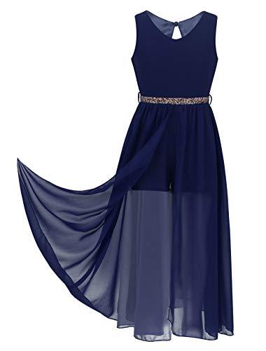 YiZYiF Big Girls Sparkle Waist Princess Prom Wedding Gown Formal Dance Party High Low Chiffon Dresses Romper Dress Navy 14