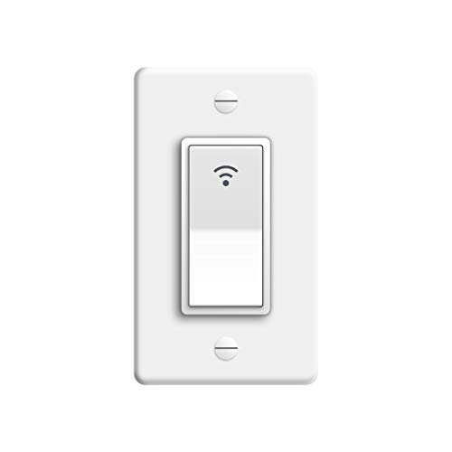 Smart Switch, 2.4Ghz WiFi Light Switch Compatible with Alexa, Google Home and IFTTT, with Timer and Remote Control, Fan in Wall Switch Compatible with Tuya App, No Hub, Neutral Wire Required, 1 Gang