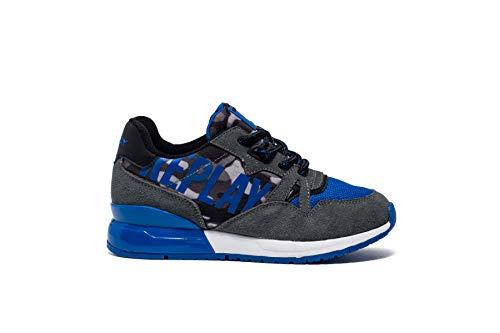 REPLAY Sneaker Bimbo GBS29 in camoscio Gray/Royal e Tessuto Bicolore, da Indossare con Ogni Tipo di Look. Una Calzatura Adatta per Tutte Le Occasioni. Autunno-Inverno 2019-2020. EU 39
