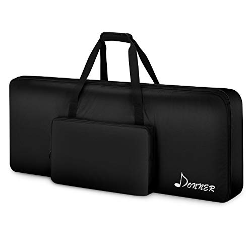 Donner 61 Key Keyboard Case Electric Piano 10MM Padded Gig Bag 40'x16'x6' Waterproof 600D Nylon Oxford Black