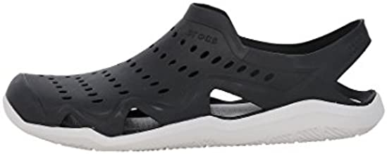 Crocs mens Swiftwater Wave Sandal, Black/Pearl White, 10 M US