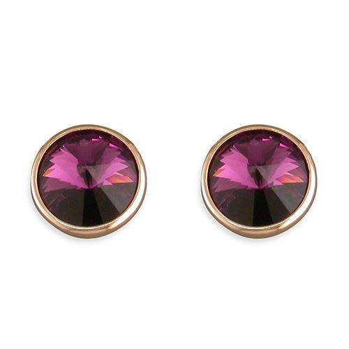 Genuine Sterling Silver Earring Rose Gold-Plated Large Purple Swarowski Crystal Stud Brand New