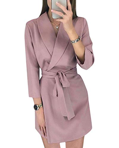Minetom Damen Blazer Kleid Frauen Elegant Langarm V-Ausschnitt Hemdkleid Business Lange Büro Jacken Anzug Einfarbig Streifen Mini Kleid mit Gürtel A Rosa 36