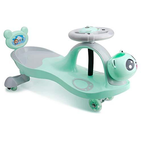 Kinder Twist Car, Kinder Spielzeug mit LED-Licht 1-3-7 Swing Wiggle Gyro Swivel Scooter Spaß Geschenk Fahrt Musik Lenkrad Tragbare Silent Flash Wheel (Farbe : Grün)