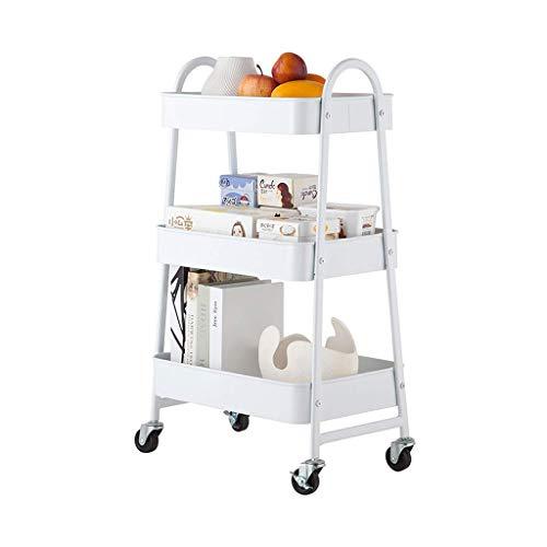 DONDOW Carrito de cocina para servicio de cocina, tipo de piso, 3 capas, estante de almacenamiento para condimentos de verduras y frutas, carrito móvil multifuncional (blanco, 79 x 44 x 30,5 cm)