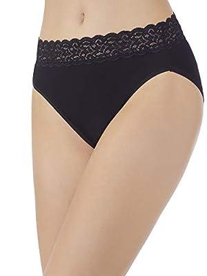 Vanity Fair Women's Flattering Lace Panties with Stretch, Hi Cut - Cotton - Black, 6 by Vanity Fair