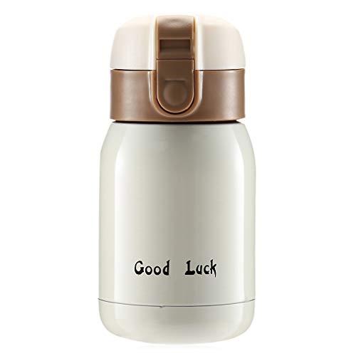 fashionbeautybuy 200ml in acciaio INOX vuoto isolato bottiglia d' acqua tazza per bambini adulti bambini studenti, OFF-WHITE