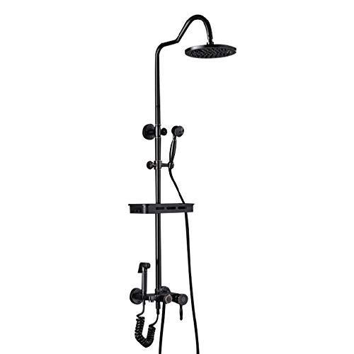CHUTD Sistema de Ducha,Conjunto de Ducha Antigua Negra de Cobre para el hogar, Grifo de Ducha para baño, Ducha Tallada Europea