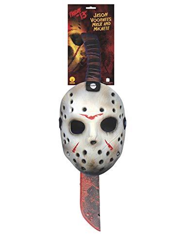 Viernes 13 - Máscara y machete de Jason Voorhees para Halloween, Talla única (Rubie