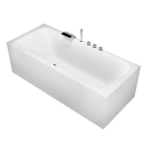 AQUADE Badewanne 170 x 70 cm Acryl-Badewanne Komplett-Set mit Schürze Wannenträger Ab-Überlauf + Wannenrandarmatur Wanne mit optionalem Zubehör wie LED-Beleuchtung und Nackenkissen Modell: Bonn