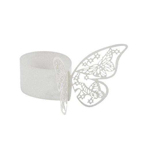 50pcs Anneau de Serviette de Table en Papier en Motif de Papier Décoration de Mariage Soirée Anniversaire - Blanc