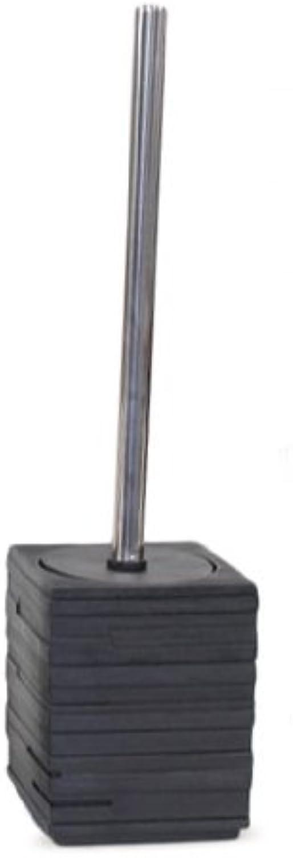 Gedy Quadredto Square Toilet Brush Holder with Chrome Handle, Black