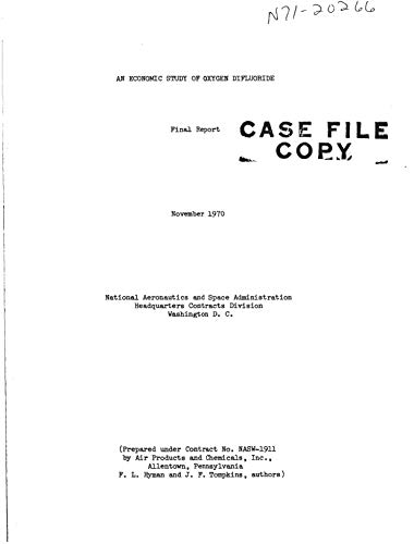 An economic study of oxygen difluoride Final report, 4 Jun. 1969 - 4 Jun. 1970 (English Edition)