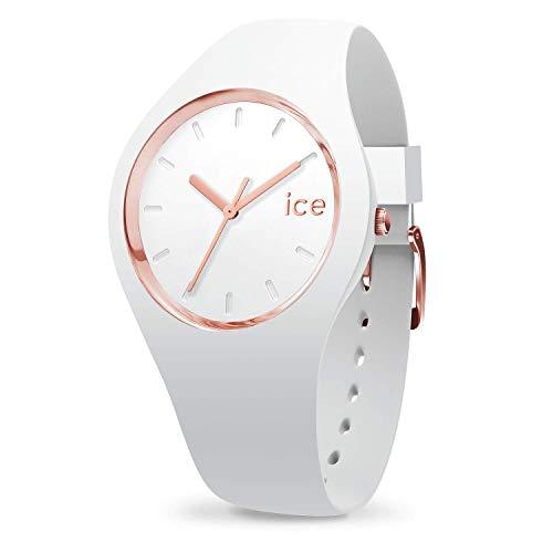 ICE-WATCH Ice Glam White Rose-Gold - Reloj Blanco para Mujer con Correa de Silicona, 000978 (Medium)