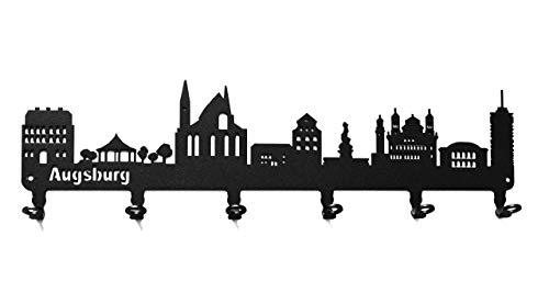 steelprint.de Schlüsselbrett/Hakenleiste * Skyline Augsburg * - Schlüsselboard Bayern, Schlüsselleiste, Metall - 6 Haken