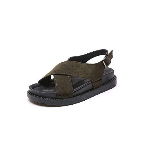 Women Sandlas Flock Platform Summer Shoes Woman Rome Sandal Open Toe Back Strap Lady Beach Vacation Sandalias Footwear SH031206 Green 6.5
