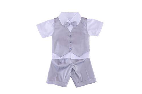 Soffi Kids Sommer Taufanzug Grau Festanzug Hochzeitsanzug Set 5 TLG (62/68-24)