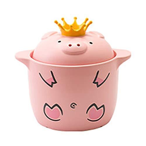 Cazuela Olla De Cerdo Cocina Sopa De Cerámica Doméstica Almejas Olla Arrocera Sopa Estufa A Gas De Alta Temperatura Cerdo Especial (Color : Pink, Size : 19 * 15cm)