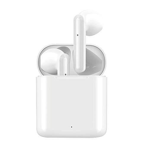 Bluetooth 5.0 Earplacks Inalámbricos Y [Caja De Carga De 24 Horas] Auriculares Estéreo 3D Micrófono Incorporado Cancelación De Ruido Auriculares Bluetooth ABS (Color : White)