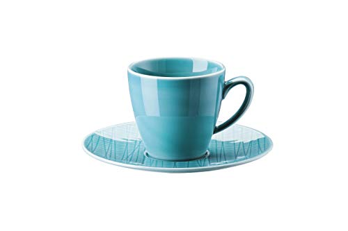 Rosenthal Kaffee-Becher hoch mit Untertasse Mesh Aqua