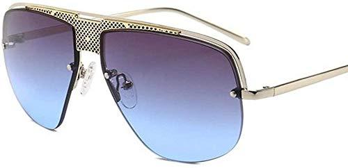 ZYIZEE Gafas de Sol Gafas de Sol de Gran tamaño Retro con Montura de Metal Semi sin Montura para Hombres Gafas gradiente Gafas de Sol Hombres Uv400-5