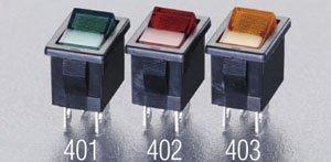 125V/ 9A 2極単投/ネオン球照光ロッカースイッチ(緑) EA940DH-401