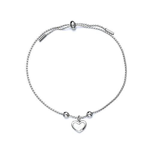 XHJLNNY XINHEJULN Pulsera de la joyería de la Boda de Las Mujeres de la Forma del corazón de la Plata esterlina 925 Duradero.