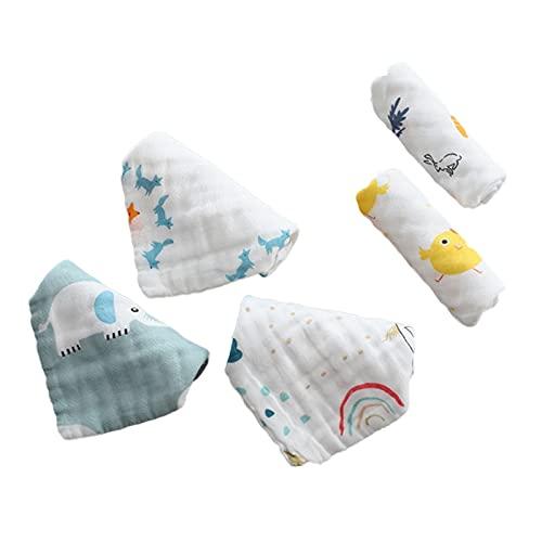 5 Piezas 6 Capas de Muselina - Toallita de algodón para bebé Toalla de Cara de Fruta de Animal de Dibujos Animados Toallitas para bebé Baberos Toallitas Pañuelo