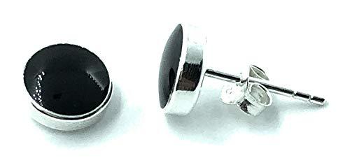 Pendientes de tuerca de plata de ley 925, ónix negro, 8 mm de diámetro
