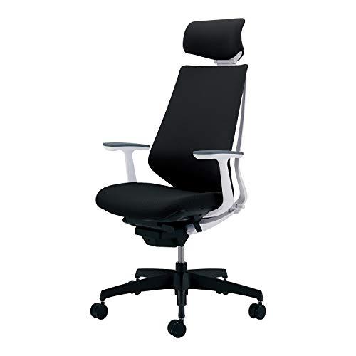 コクヨ デュオラ イス オフィスチェア ブラック 布張り ヘッドレスト デスクチェア 事務椅子 シンプルデザイン多機能チェア CR-G3105E1KZB6-W 【ラクラク納品サービス】