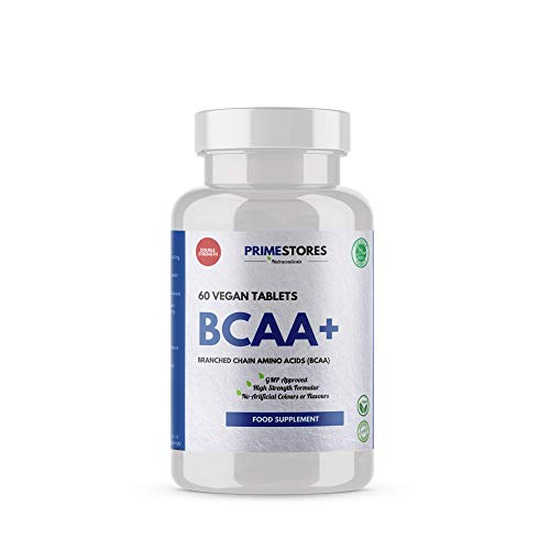 BCAA Plus Amino Workout Tablets - 60 Vegan Protein Powder Capsules - High Strength Halal Vegetarian Muscle Energy Supplements by Primestores